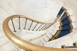 Stairwell in the Polish palace. Royal castle in Warsaw on World Heritage List - UNESCO.
