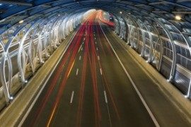 Modern tunnel and traffic